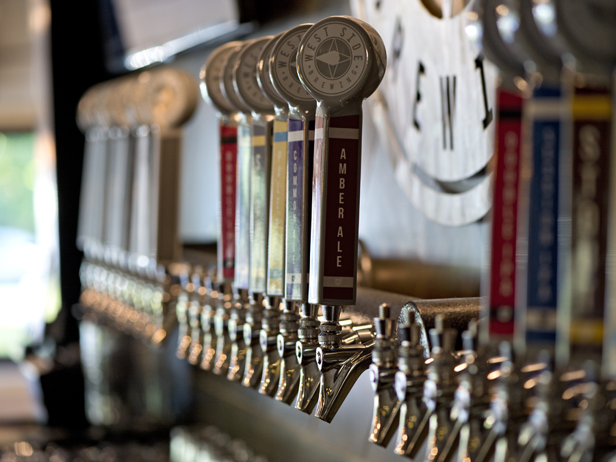 West Side Brewery will open June 30, 2017, at 3044 Harrison Ave. in Westwood. Multiple taps stand ready for opening night. Photo: David Sorcher